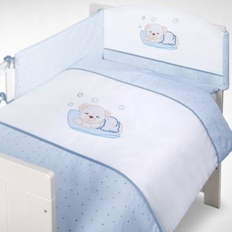 Set lenjerie brodata 5 piese H106 Sleeping Bear blue