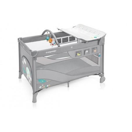Patut Pliabil cu 2 nivele Baby Design Dream gri deschis 2019